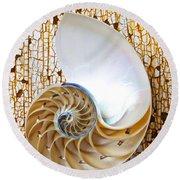Nautilus Shell On Rusty Table Round Beach Towel