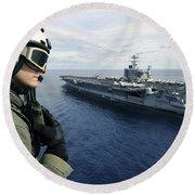 Naval Air Crewman Conducts A Visual Round Beach Towel