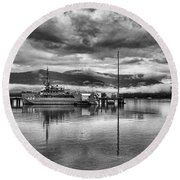 Navy Lookout Round Beach Towel by Douglas Barnard