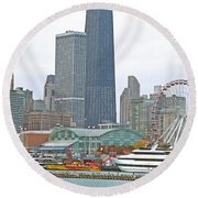 Navy Pier And Vicinity Round Beach Towel