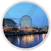 Navy Pier Chicago Digital Art Round Beach Towel