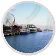 Navy Pier Chicago Summer Evening Round Beach Towel