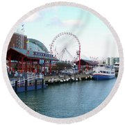 Navy Pier Chicago Summer Time Round Beach Towel