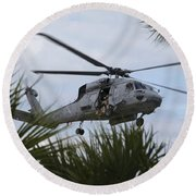 Navy Seals Look Out The Helicopter Door Round Beach Towel