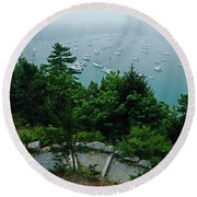 Ne Harbor Maine Seen From Thuya Gardens Mt Desert Island  Round Beach Towel