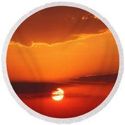 Nebraska Sunrise Round Beach Towel