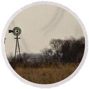 Nebraska Windmill Round Beach Towel