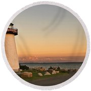 Neds Point Light House Mattapoisett Ma Round Beach Towel