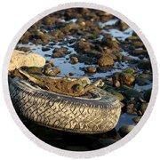 Need A Tire Round Beach Towel by Henrik Lehnerer