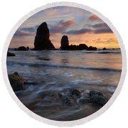 Needles Sunset Round Beach Towel
