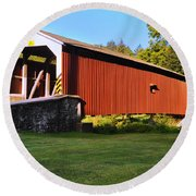 Neff's Mill Covered Bridge In Lancaster County Pa. Round Beach Towel
