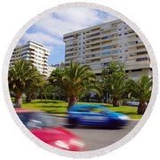 Neighborhood Unrest Round Beach Towel