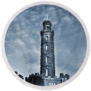 Nelson Monument Round Beach Towel