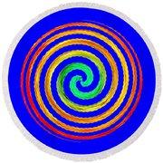 Neon Spiral Blue Round Beach Towel