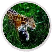 Neon Tiger Round Beach Towel