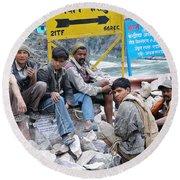 Nepali Labourers At Devraprayag Round Beach Towel