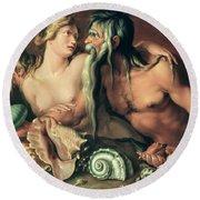 Neptune And Amphitrite Round Beach Towel by Jacob II de Gheyn