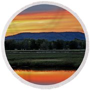 Nerepis Marsh At Dusk IIi Round Beach Towel