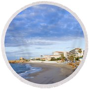 Nerja Beach On Costa Del Sol Round Beach Towel