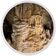 Nerja Caves In Spain Round Beach Towel