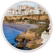 Nerja Town On Costa Del Sol Round Beach Towel