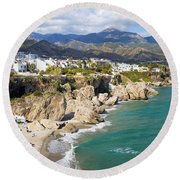 Nerja Town On Costa Del Sol In Spain Round Beach Towel