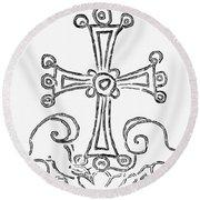 Nestorian Cross, 781 A.d Round Beach Towel
