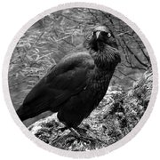 Nevermore - Black And White Round Beach Towel