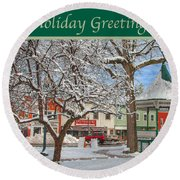 New England Christmas Round Beach Towel by Joann Vitali