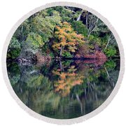New England Fall Reflection Round Beach Towel