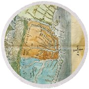 New England To Virginia, 1651 Round Beach Towel by Photo Researchers
