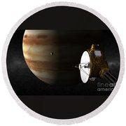 New Horizons Flies By Jupiter Round Beach Towel