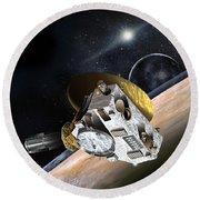 New Horizons Spacecraft At Pluto Round Beach Towel
