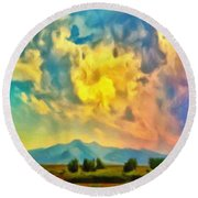 New Mexico Dawn Round Beach Towel