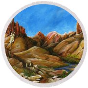 New Mexico Highlands In Spring Round Beach Towel