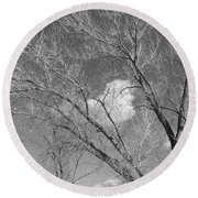 New Mexico Series - A Cloud Behind Black And White Round Beach Towel