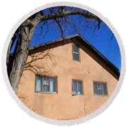 New Mexico Series - Adobe Building Round Beach Towel
