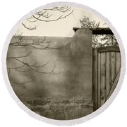 New Mexico Series - Doorway II Black And White Round Beach Towel
