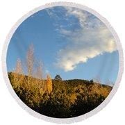 New Mexico Series - Santa Fe Landscape Autumn Round Beach Towel