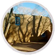 New Mexico Series - Shadows On Adobe Round Beach Towel