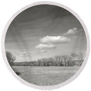 New Mexico Series - The Long View Black And White Round Beach Towel