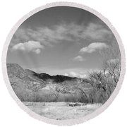 New Mexico Series - Winter Desert Beauty Black And White Round Beach Towel