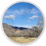 New Mexico Series - Winter Desert Beauty Round Beach Towel