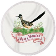 New Mexico State Bird The Greater Roadrunner Round Beach Towel