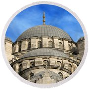 New Mosque Domes In Istanbul Round Beach Towel