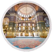 New Mosque Interior In Istanbul Round Beach Towel