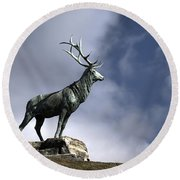 New Orleans Stag Statue Round Beach Towel