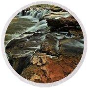 New River Waterfall Round Beach Towel