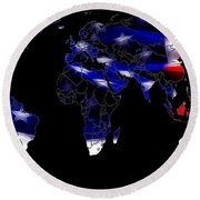 New World Map Round Beach Towel
