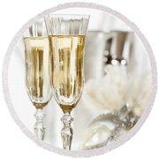 New Year Champagne Round Beach Towel